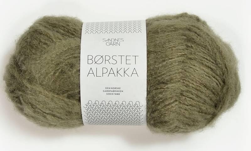 Børstet Alpakka 9554 Mosegrønn